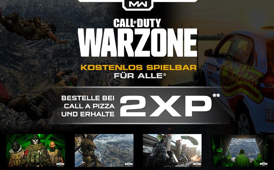 JETZT BEI CALL A PIZZA BESTELLEN UND DREI STUNDEN DOPPELTE XP BEI CALL OF DUTY®: WARZONE SICHERN!