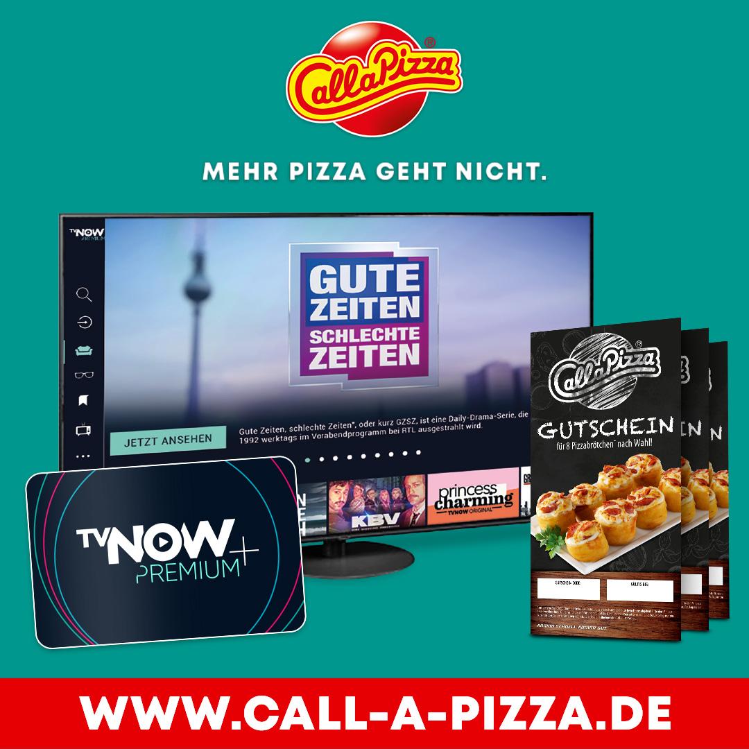 Gewinne einen von drei PANASONIC  TX-65HZW984 OLED TV oder eines  von 15 Jahresabonnements für  TVNOW PREMIUM+ inkl. Pizza- brötchEN Gutschein von CALL A  PIZZA.